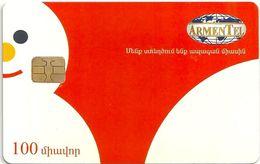 Armenia - ArmenTel - Merry Christmas Happy New Year - Snowman - 100U Sample (No Serial) - Armenia