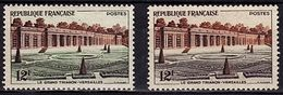 FR 107 - FRANCE N° 1059 Neufs** Versailles Grand Trianon Variété Pelouse Violette Au Lieu De Verte - Varietà E Curiosità
