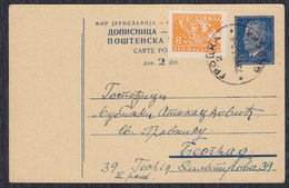 Yugoslavia 1952 Marshal Tito, Postal Stationery Sent From Grocka To Beograd - Ganzsachen