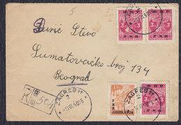 Yugoslavia 1950 Registered Letter Sent From Zagreb To Beograd - 1945-1992 Socialist Federal Republic Of Yugoslavia