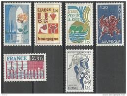 """FR YT 1847 à 1852 """" Les Régions De France """" 1975 Neuf** - France"""