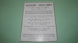 AUGUSTE DESCAMPS FILATURE De LINS, ETOUPE Et FIBRANNE à La VIGNETTE LINSELLES ( Nord ) - PUBLICITES DE 1951. - Werbung