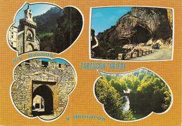 09. CPM. Ariège. Tarascon Sur Ariège. Notre-Dame De Sabart, Grottes De Niaux, Porte D'Espagne, Pont Du Diable (4 Vues) - France