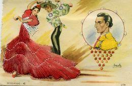 Carte Brodée - Sevillanas 42 - LITRI - Illustrateur: Iraola - Brodées