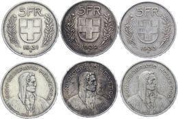 (J) SWITZERLAND: LOT X3 Silver 5 Francs 1931B-1932B-1933B VF-XF (2507) - Suiza