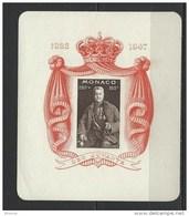 """Monaco Bloc YT 2 """" 25 Ans De Règne Du Prince Louis II """" 1947 Neuf ** - Blocs"""