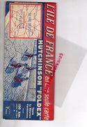 75-91-92-93-94-95-78-60-77-28-RARE BELLE CARTE ROUTIERE ILE DE FRANCE-PNEU HUTCHINSON FOLDEX-VELO-MOTO- 1935-PARIS-DREUX - Roadmaps