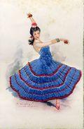 Carte Brodée - Danse Espagnole - Illustrateur: Gisbert - Brodées