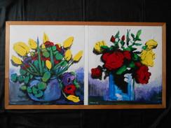 Tableau Acrylique Sur Toile Diptyque : Nature Morte Bouquets 84,5cm X 55,5cm - Acrylic Resins