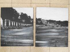 Diptyque Paysage Acrylique Sur Toile 50cm X 61cm Chaque Exemplaire - Acrilici