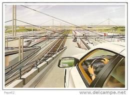 Le Tunnel Sous La Manche-eurotunnel -les Navettes--cpm - Gares - Avec Trains