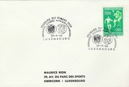 1968 LUXEMBOURG COVER EVENT Pmk HERALDIC LION, AUSTRIA EXPO ,  1.50f OLYMPIC FOOTBALL Soccer Stamps Sport Olympics Games - Covers & Documents