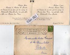 VP11.416 - Enveloppe & Faire - Part De Mariage De Mr Jean VARIN Avec Melle Eliane PERROLIN à COLOMBES & PRESSAGNY LE VAL - Wedding