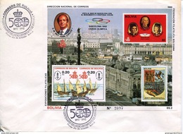 23155 Bolivia  Fdc  Of S/s 1989  500th Anniversary Discovery Of America,colon,columbus,coulomb - Bolivië