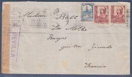 = Enveloppe Espagne 3 Timbres Pro Sevilla Et Isabelle La Catholique Ouvert Par Censure Militaire Seville - 1931-50 Briefe U. Dokumente