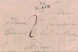 GIRONDE - 32 BLAYE - LETTRE DE BLAYE AVEC TEXTE ET SIGNATURE LE 2-1-1826 (P1) - Marcophilie (Lettres)