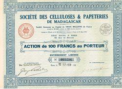Action Ancienne - Sté Des Celluloses & Papeteries De Madagascar - Titre De 1928 - - Industrie