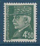 FRANCE - YT N°523 - 4f. 50 Vert Foncé - Maréchal Pétain - Type Hourriez - Neuf** - TTB Etat - 1941-42 Pétain