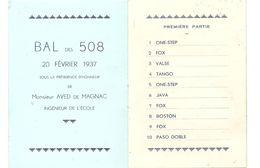 Carnet De Bal Des 508 Du 20 Février 1937 à Gudmont Villers (52320) Sous La Présidence D'Aved De Magnac - Programmes
