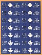 CANADA SHEET AIR MAIL PAR AVION  LABELS / VIGNETTES UNUSED - Erinofilia