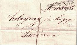 GIRONDE - PETITE-POSTE BORDEAUX - LETTRE AVEC TEXTE ET SIGNATURE LE 21-4-1821 (P1) - Marcophilie (Lettres)