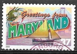 2002 37 Cents State Greetings, Maryland, Used - United States