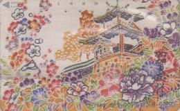 Télécarte Japon En SOIE / 110-011 - PAGODE TEMPLE - SILK SURFACE Japan Phonecard - TEMPEL SEIDE TELEFONKARTE - 22 - Paysages