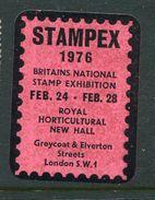 """Stampex 1976 London  Reklamemarke Poster Stamp Vignette No Gum 1 1/2 X  2"""" - Cinderellas"""
