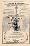 Machines à Vapeur FRANCOIS Chaudière à Bouilleur Vertical PARIS Appareils Gazogène Eaux Gazeuses BRIET MONDOLLOT Siphon - Publicités