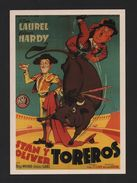1970sART POSTCARD STAN LAUREL Y OLIVER HARDY SPAIN ESPAÑA BULLFIGHT TORADA BULLS - Postcards
