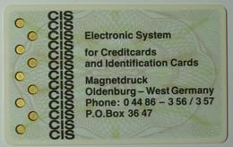 GERMANY - VALVO / PHILIPS - Prototype Specimen - 1980 - Electronic Systtem For Creditcards & Identification Cards - RRRR - Geldkarten (Ablauf Min. 10 Jahre)