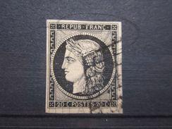 VEND BEAU TIMBRE DE FRANCE N°3 , NOIR SUR BLANC !!! - 1849-1850 Ceres