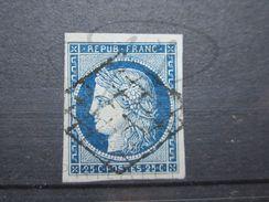 VEND BEAU TIMBRE DE FRANCE N° 4 , BLEU FONCE SUR BLEUTE !!! - 1849-1850 Cérès