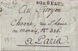 GIRONDE - BORDEAUX - LINEAIRE  LENAIN N°22- LETTRE AVEC TEXTE ET SIGNATURE LE 21-3-1798 - PERIODE CONSULAT (P1) - Marcophilie (Lettres)
