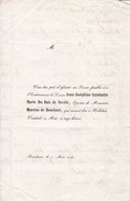 BOUCHOUT Anne Joséphine DU BOIS De NEVELE épouse MORETUS De BOUCHOUT Faire-part Enterrement 1848 Format A5 - Décès