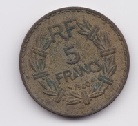 5 Francs Lavrillier 1940 TTB à Nettoyer - France