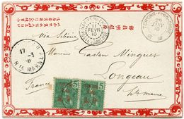 TCH'ONG-K'ING CARTE POSTALE DEPART TCH'ONG-K'ING-CHINE 29 JANV 10 POUR LA FRANCE - Tch'ong-K'ing (1902-1922)