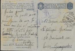 FRANCHIGIA MILITARE CARTOLINA (INT. 27D-17) - DA PM 169 (FRANCIA) (p.6) PER GUAGNANO (LE) 30.08.1943 - Franchise