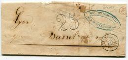 DROME De SERVES LAC Du 03/03/1852 Boîte Rurale Rouge E+ Dateur T 15 TAIN+ Taxe Tampon 25 - 1849-1876: Période Classique