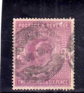 GREAT BRITAIN GRAN BRETAGNA 1902 1911 KING GEORGE V RE GIORGIO 2/6 LILAC 2sh 6p USATO USED OBLITERE' - 1902-1951 (Re)