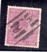 GREAT BRITAIN GRAN BRETAGNA 1902 1911 KING GEORGE V RE GIORGIO 2/6 LILAC 2sh 6p USATO USED OBLITERE' - Usati
