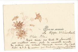 18071 - Bonne Année Fleurs En Relief + Cachet La Rippe  Suisse 1901 - Nouvel An