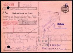 A8574 - Erfurt - Sparkasse - Rechnung Quittung 1944 Spargiro - Reichsbank Einzahlschein - Bank & Versicherung