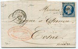 MARNE De CHALONS SUR MARNE N°10 Oblitéré PC 704 Sur LAC Du 24/06/1853 - Postmark Collection (Covers)