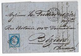 ALGERIE - 1875 - LETTRE De ALGER Avec RARE BOITE BATEAU BB ALGERIE à MARSEILLE + PC => BEZIERS (HERAULT) - SIGNEE BAUDOT - Marcophilie (Lettres)