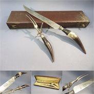 ~ SERVICE A DECOUPER DE CHASSEUR  SHEFFIELD # Chasse  Angleterre Gibier Cuisine Art Populaire - Couteaux