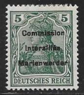 Marienwerder, Scott #24 Mint Hinged German Stamp Overprinted Commission Interalliee Marienwerder, 1920 - Germany