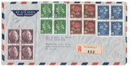 1958  Lettre  Avion Recommandée De St Gallen Pour Les USA  Blocs De 4 - Briefe U. Dokumente