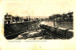 AH 741 / C P A - CHAMPIGNY  (94) PERSPECTIVE DE LA GARE - Champigny Sur Marne