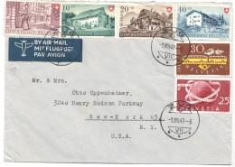 1949  Lettre Avion Pour Les USA  Série Pro Patria 1949, 75è UPU 25 Rp, Centenaire Des Postes Fédérales 30Rp - Schweiz